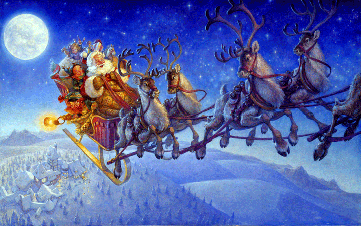 santa-claus-riding-his-sleigh-reindeer-with-his-friends-gifts-in-sky-moon-BG-picture-image